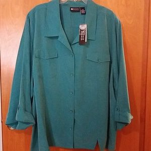 NWT dark teal green button-up blouse